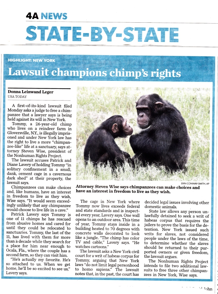 Lawsuit champions chimp's rights